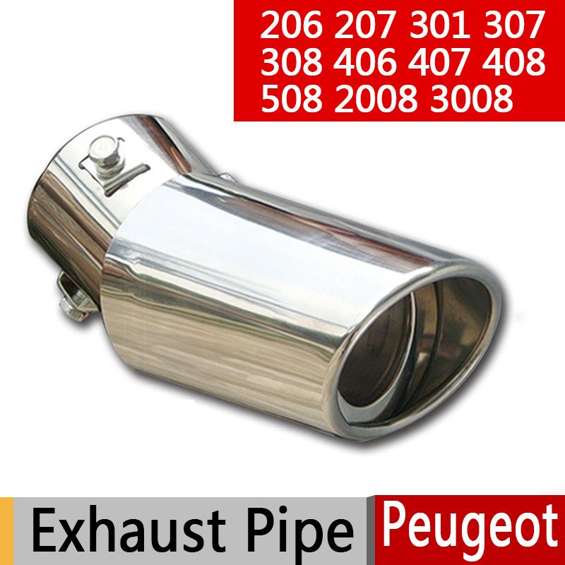 Hot Zero Profit 304 Stainless Steel Exhaust Tail Pipes Muffler for Peugeot 206 207 307 308 406 407 408 508 2008 3008 Car Z2AE001|muffler muffler|muffler stainless|muffler pipe - title=