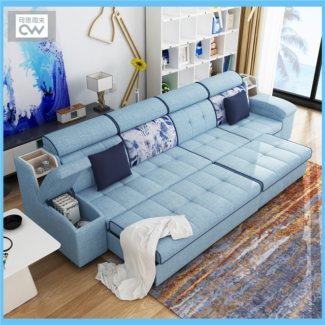 Linen Fabric Sofa Bed Living Room Furniture Couch Velvet Cloth
