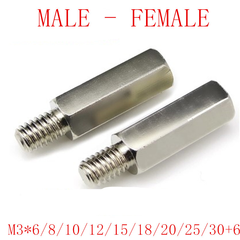 20Pcs/lot m3*L+6 nickel plated brass hex standoff M3*6/8/10/12/15/18/20/25/30+6 male to female nickel brass spacer 100pcs lot m3 l 6 brass standoff spacer female male spacing screws nickel plated brass threaded spacer hex spacer bssfmnp m3
