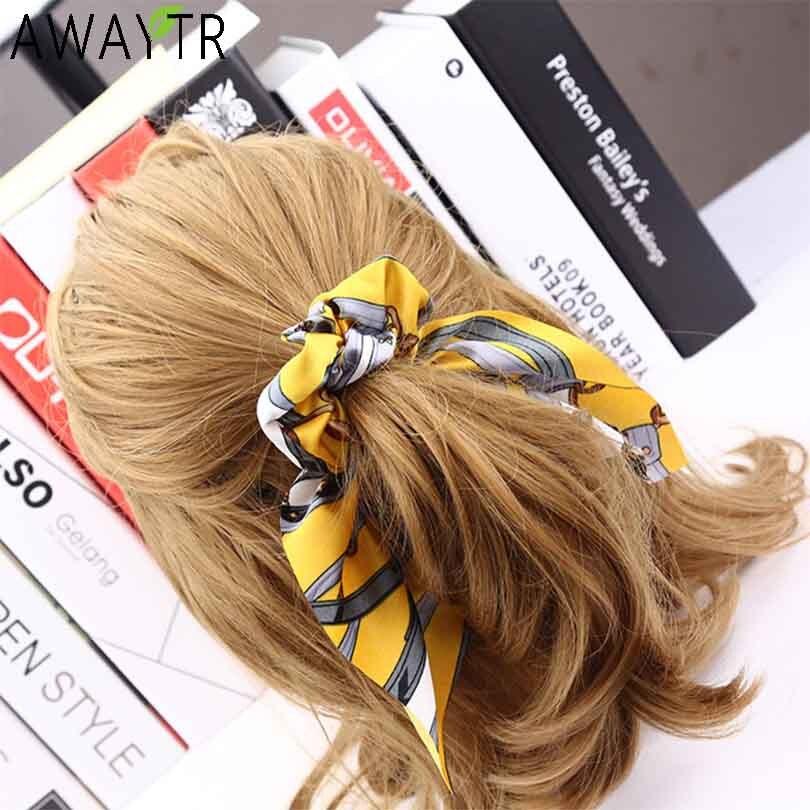 AWAYT Vintage Women   Headwear   Turban DIY Bow Streamers Hair Scrunchies Ribbon Hair Ties Horsetail Ties Head Wrap Hair Accessories