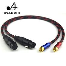 Ataudio HiFi 2RCA штекерным 2xlr Женский аудио кабель Hi-End класса 4N OFC двойной XLR Женский двойной RCA мужской Аудио Провода