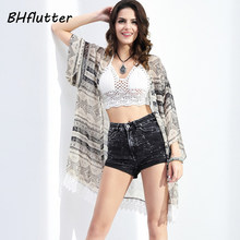 BHflutter Summer Tops New Design Lace Patchwork Striped Print Shirts Women Beach Cover-ups Chiffon Blouses Blusas Tees 2017(China)