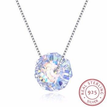 2f512859ad81 LEKANI 925 Plata fina joyería de perlas de Briolette cristales de Swarovski  colgante collar de cadena