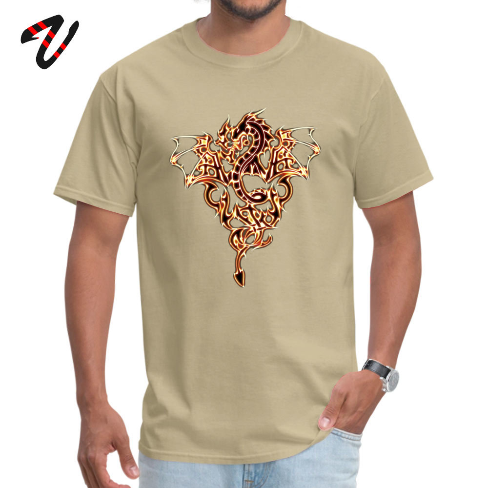 Dragon Fire Dragon Dark All Cotton T-Shirt for Men Short Sleeve Tops T Shirt Fashionable ostern Day O Neck T-Shirt Group Dragon Fire Dragon Dark 8885 beige