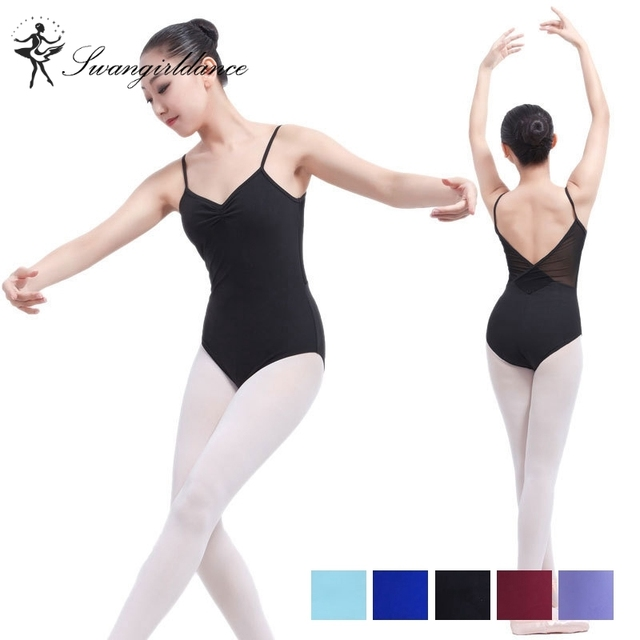 63e78a304f74 Red Costume Leotards   Red Camisole Ballet Leotards With Mesh Adult ...