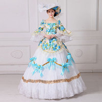 2018 Blue Floral Printed Pattern O Neck Long Flare Sleeve Renaissance 18th Century Marie Antoinette Masquerade Dresses Ball Gown
