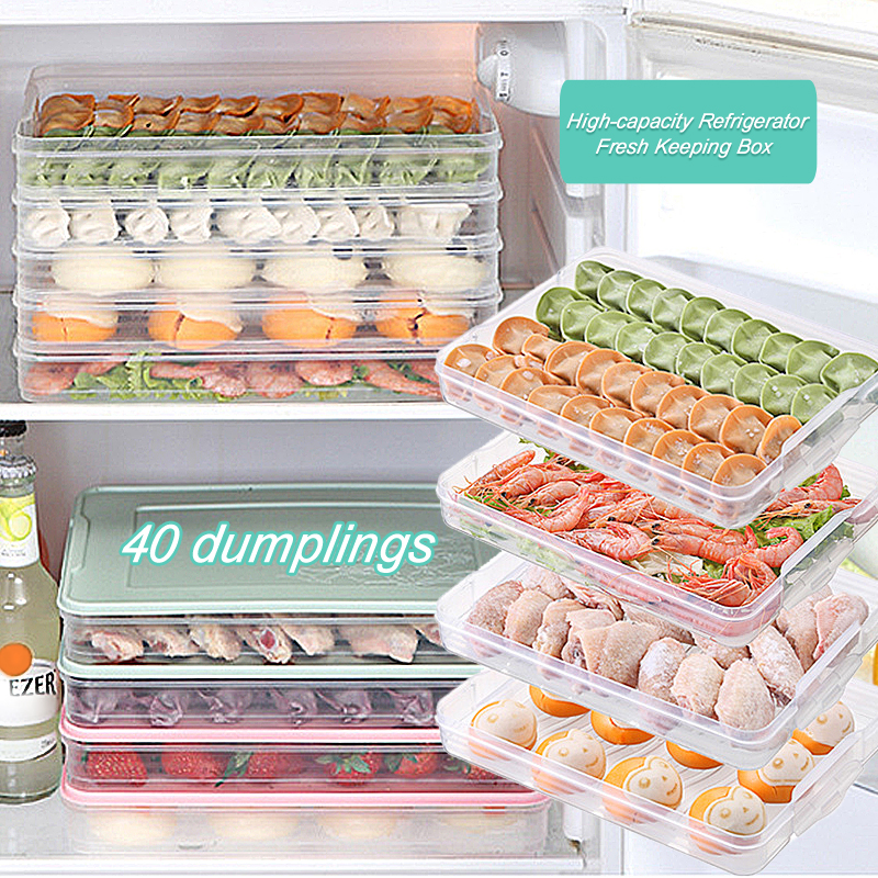 4 Layers Food Preservation Tray Airtight Food Storage Box Reusable Kitchen Refrigerator Egg Fruits Meat Fresh Keeping Containers