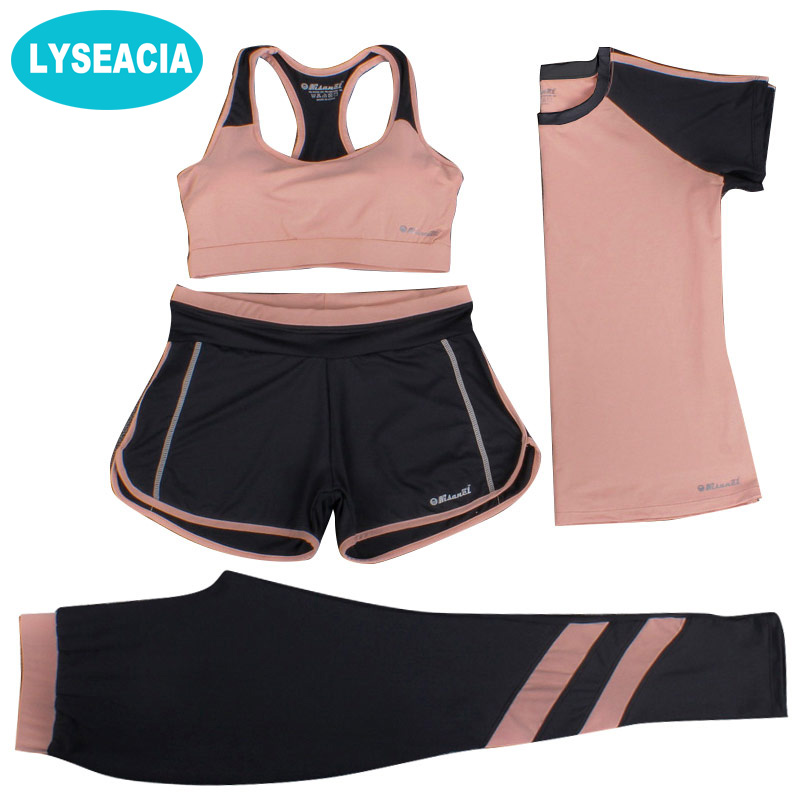 LYSEACIA M-3XL New Sports Suit Women Yoga Set Fitness Suit Sports Bra T-shirt Shorts Sports Pants 4 IN 1 Sportswears Breathable одежда для фитнеса beauty in my sports bra
