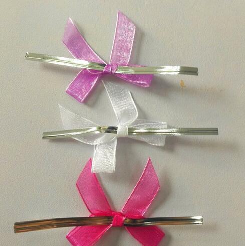 Nœuds pré-noués en Organza 1000 pièces   Livraison gratuite en gros, nœuds avec fils de cravate tordus pour produits sucettes couleurs mélangées
