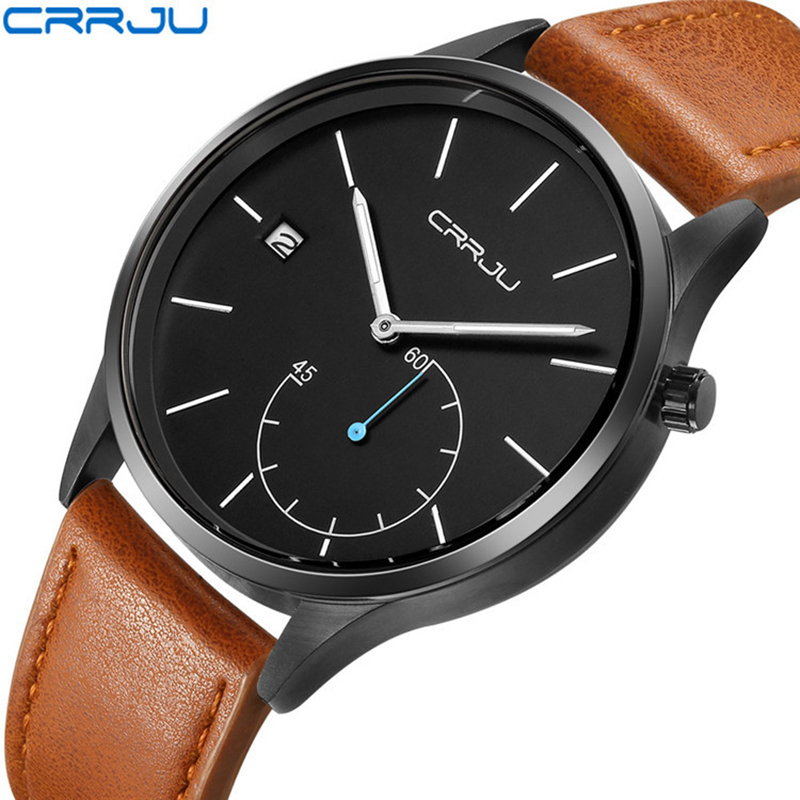 Relogio Masculino CRRJU Quartz Watch Men 2017 Top Brand Luxury Leather Mens Watches Fashion Casual Sport Clock Men Wristwatches forsining fashion brand men simple casual automatic mechanical watches mens leather band creative wristwatches relogio masculino