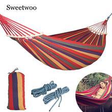 лучшая цена 250*150cm 2 People Outdoor Canvas Camping Hammock Bend Wood Stick Steady Hamak Garden Swing Hanging Chair Hangmat Blue Red