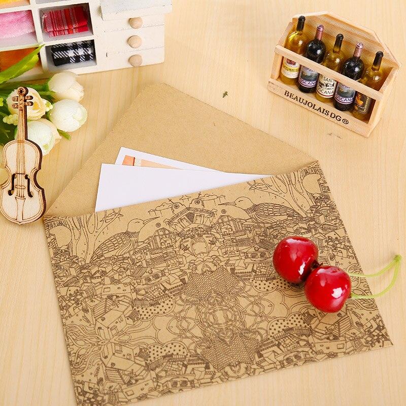 10 шт./партия винтаж крафт конверт открытки