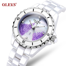 Fashionable waterproof ceramic table watch han edition diamond watches Lady white special female table