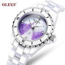 Fashionable waterproof ceramic table watch han edition diamond watches. Lady white special female table
