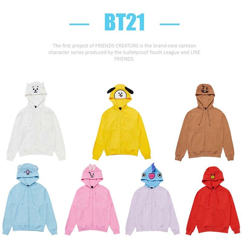 BTS BT21 Bangtan мальчики COOKY CHIMMY TATA Цзиминь хлопок милые вышитые молния Sweashirt толстовки пальто SW001