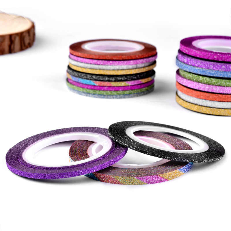1 piezas vender 12 brillo de Color de uñas rayas línea cinta etiqueta engomada de arte decoración DIY consejos para esmalte de uñas de Gel diamantes de imitación sobresalen por