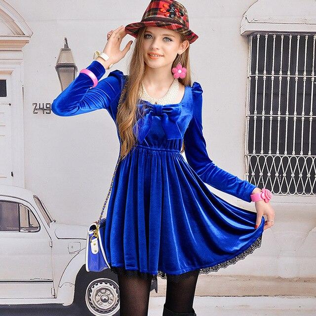1d944e03de6 Pink baby doll navy blue velvet bow expansion bottom lace decoration  vintage long-sleeve dress u