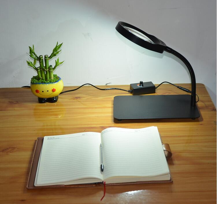 10X New style Lighted Magnifier Table Top Desk LED Lamp Reading 8X Large Lens Magnifying Glass Adjustable light 5X new universal desktop magnifier usb with led light 10x for maintenance reading micro engraving magnifying glass