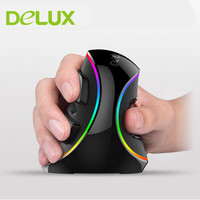 Delux M618 PLUS Wired Ergonomic Vertical Mouse RGB USB 4000 DPI Optical Healthy Wireless Mice With