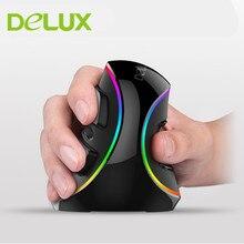 D eluxเมาส์แบบมีสายแนวตั้งเมาส์สำหรับเล่นเกมM618บวกErgonomi 6ปุ่ม4000จุดต่อนิ้วออปติคอลRGB USBไร้สายหนูด้วยข้อมือสนับสนุน