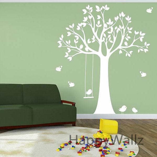 €38.09 5% de réduction|Bébé pépinière arbre Sticker mural balançoire  oiseaux arbre stickers muraux pour chambre d\'enfants bricolage arbre papier  peint ...