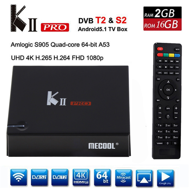 DVB-S2 DVB-T2 KII Pro TV Box Android 5.1 Amlogic S905 Quad-core 2GB+16GB 2.4G &5G WiFi Bluetooth 4.0 HDMI 4K Smart Media Player цена