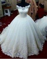 أنيق مخصص قبالة الكتف الدانتيل الأبيض فساتين الزفاف زائد الحجم 2018 رخيصة فستان الزفاف بابا الصين
