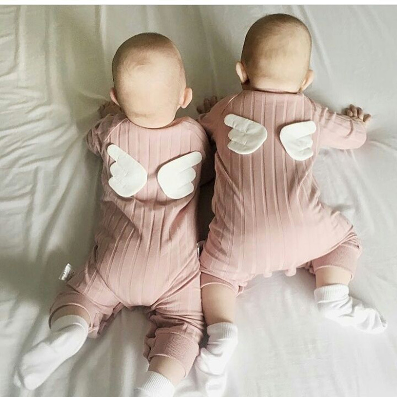 Kawaii Twins Romper Wings Spring Angel Autumn Winter Elf Christmas Gift baby Newborn Clothes Infant INS Siamese Conjoined the christmas angel