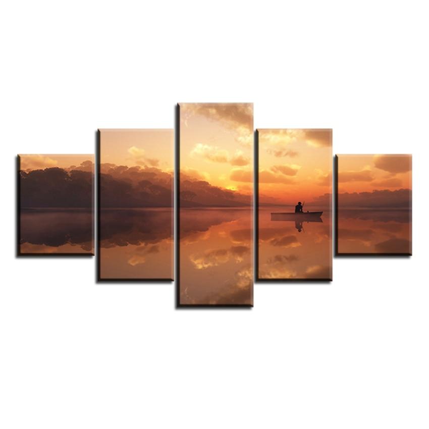 ②Barco Sunset-pesca-Full-HD sin marco aceite Pintura sobre tela ...