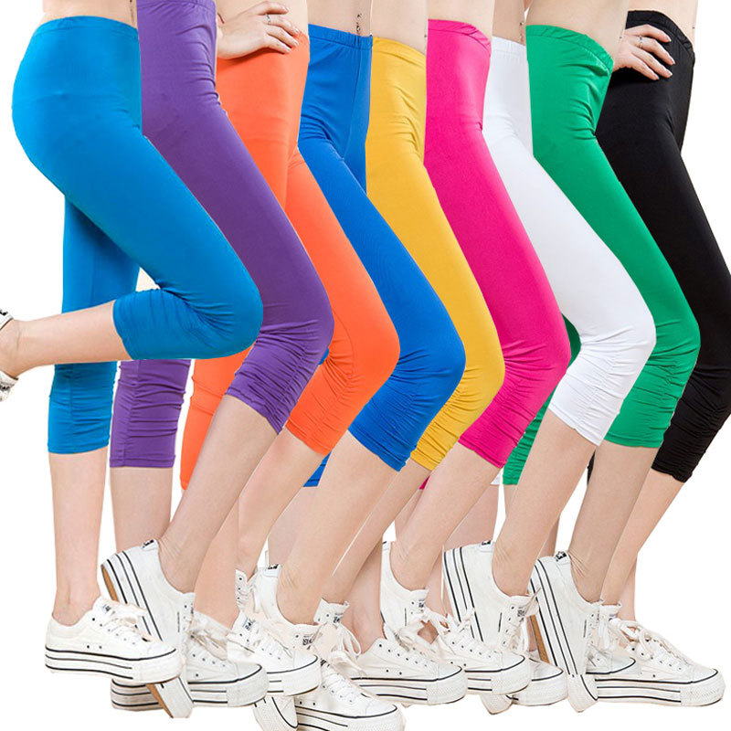 High Waist Women   Capris     Pants   Summer   Capris   Candy Colors   Pants   Fashion   Capris     Pants   for Women Big Size L-4XL
