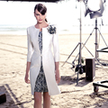 Clássico branco e preto lace mãe de vestidos de noiva com jaqueta joelho de comprimento vestidos mae da noiva MBD45