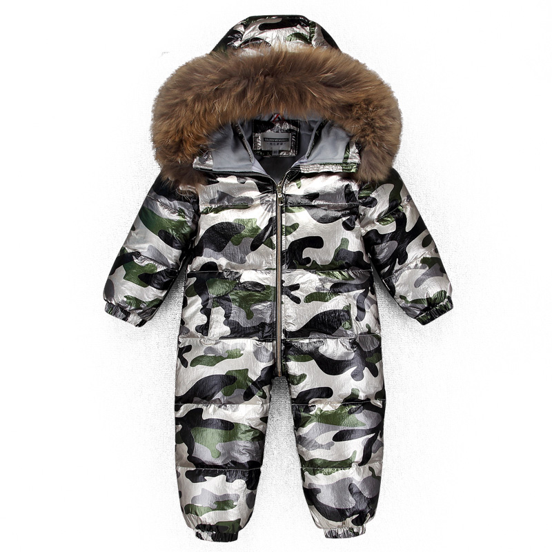 Real Fur Coats Fashion Camouflage Design Clothes For Baby One Piece Boy And Girls Jumpsuit -20 Down Jacket Kids Overcoat burgundy one shoulder frill layered design jumpsuit