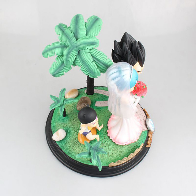 Anime Dragon Ball Z Vegeta & Bulma Wedding with Little Trunks PVC Action Figure Kids Gifts no retail box (Chinese Version) 2