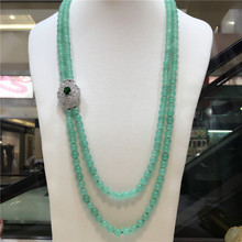 Натуральный зеленый камень, бусины, многослойные, микро инкрустация, циркониевая застежка, длинное ожерелье, цепочка на свитер, модное ювелирное изделие