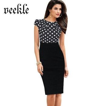 VEKLE Women Elegant Office Dress Sleeveless Polka Dot Floral Print Patchwork Party Wear to Work Sheath Pencil Femme Robe Kleider short dresses office wear