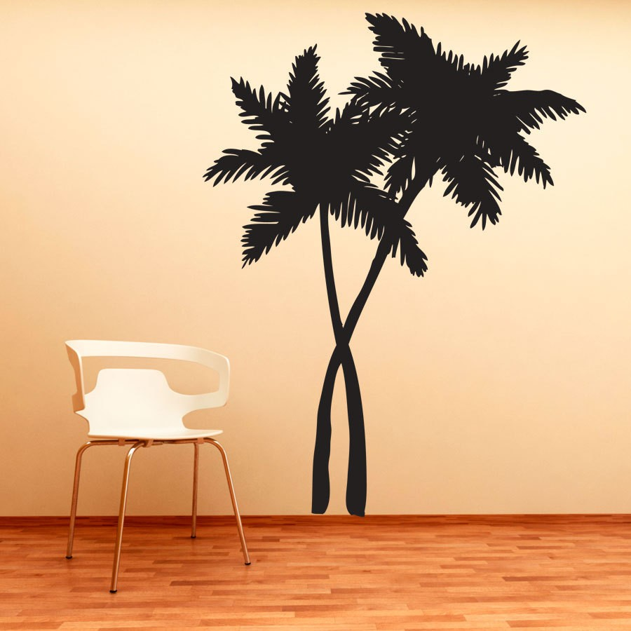 Tropical coconut palm tree wall decal bedroom living room - Removable wall stickers living room ...