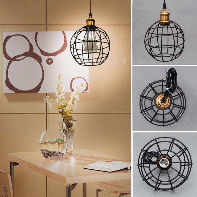 r tro vintage edison pendentif lumi re ampoule fer garde fil cage plafond suspendu luminaire bar. Black Bedroom Furniture Sets. Home Design Ideas