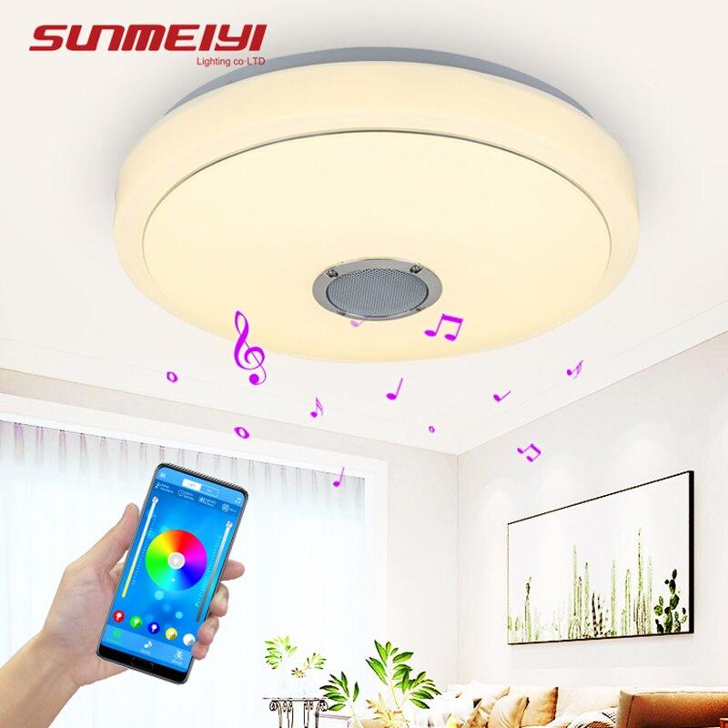 Luzes de teto bluetooth moderno controle remoto & app luz inteligente para sala estar quarto pode ser escurecido led lâmpada do teto música alto falante
