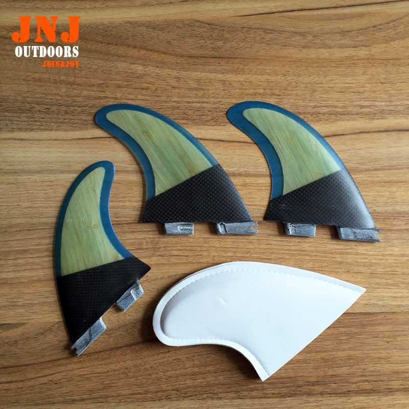 FREE SHIPPING top selling carbon FCS II G5 fins with fiberglass and bamboo material for surfing