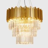 Jmmxiuz Novo luxo lâmpada de iluminação lustre de cristal moderna para sala de estar da sala de jantar de ouro luzes LED