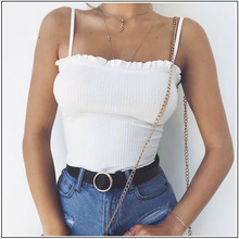 Crop Tank Top Casual Sleeveless Ruffles AQ01