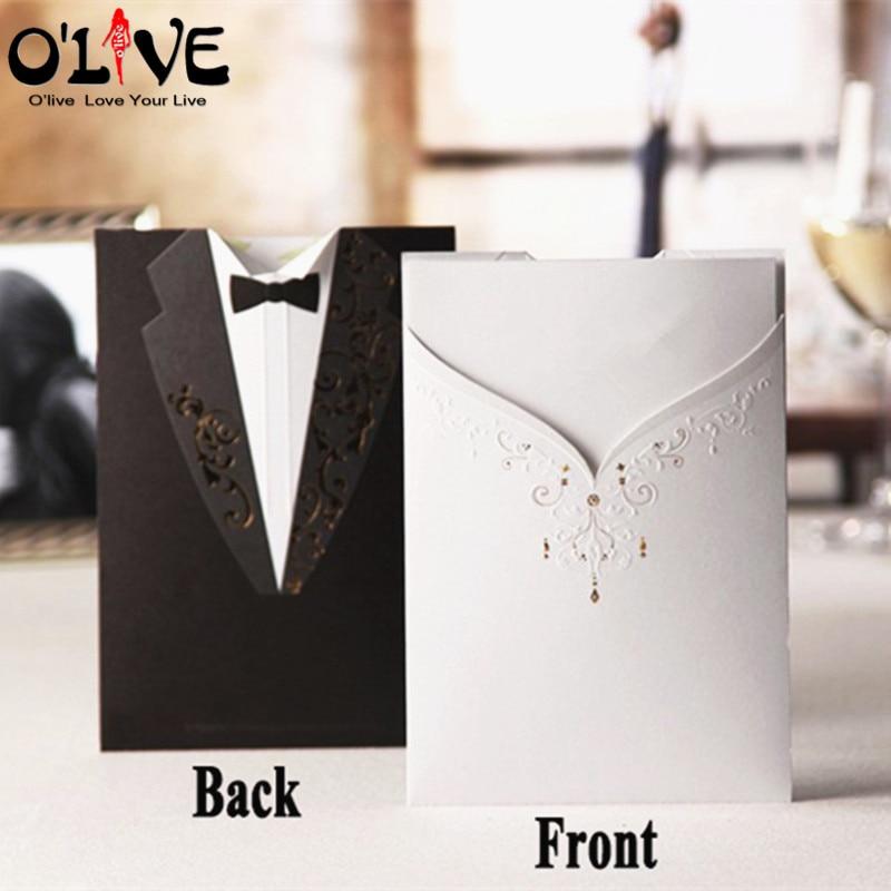 Elegant 20 Pcs Wedding Invitations Cards Laser Cut Bride And Groom Invitation Card  Black White Engagement Cards