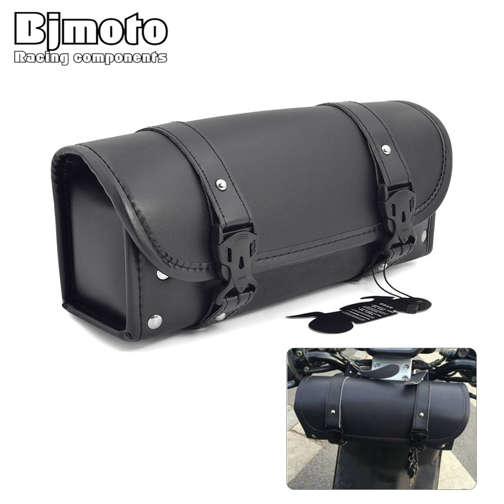 цена на Black Universal Motorcycle Bag Saddle Side PU Leather Luggage Bag Storage Tool Pouch For Harley Cruiser Touring Saddlebag Bike