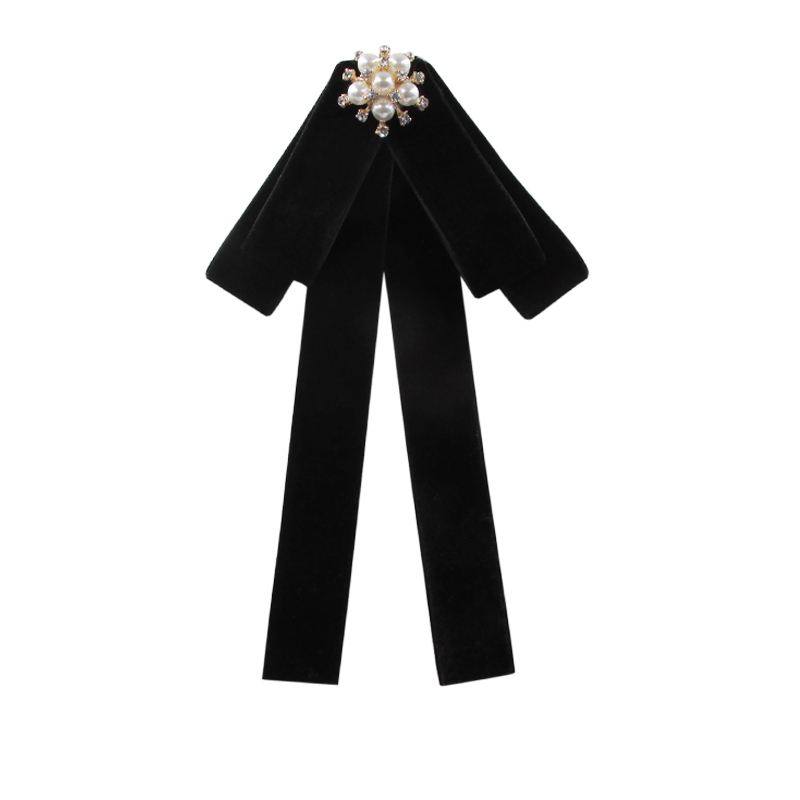 Black all-match female fashion fabric Bowknot Brooch And Shirt Bow Tie College Wind Collar Needle Ribbons Fabric Corsage-038