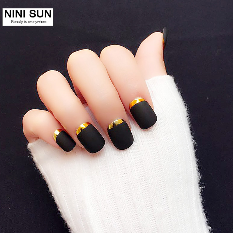 24 PCS Lady Short French Matte False Nail Tips Full Gradient Finger ...