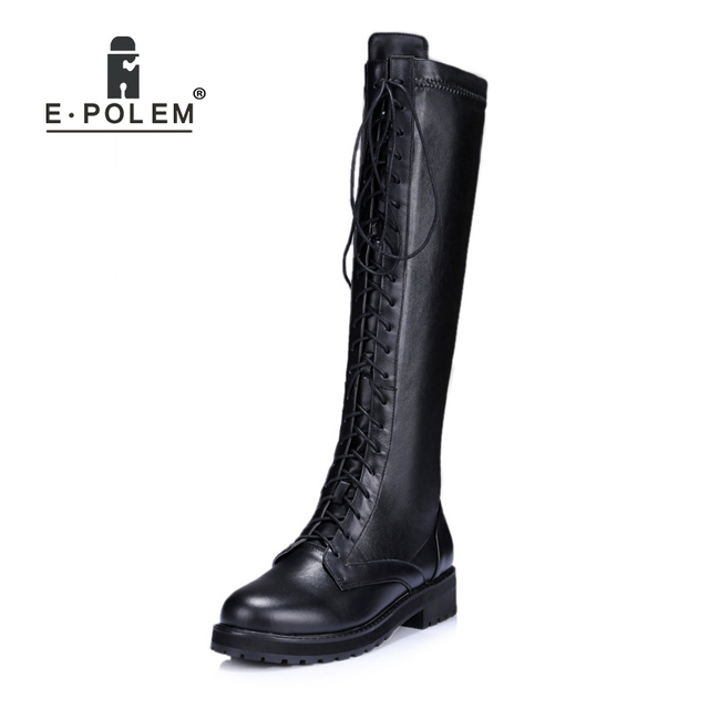 d924a071f57 2018 New Trendy High Black Boots for Women Genuine Leather Cross-tied  Lace-Up Knee-High Female Booties