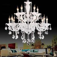 White color moder crystal chandeliers lustres de cristal lustres de teto luminarias para sala E12/14 110 120V,220 240V