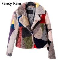 Noble Real Fur Sheepskin Coats for Women Winter Fashion Wool Coat Female Warm Outwear Patchwork Sheep Shearing Jacket
