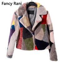 Noble Real piel de oveja abrigos para mujeres de lana de invierno a la moda abrigo femenino caliente prendas de vestir Patchwork oveja chaqueta de corte