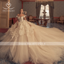 Swanskirt Wedding Dress court train ball gown backless
